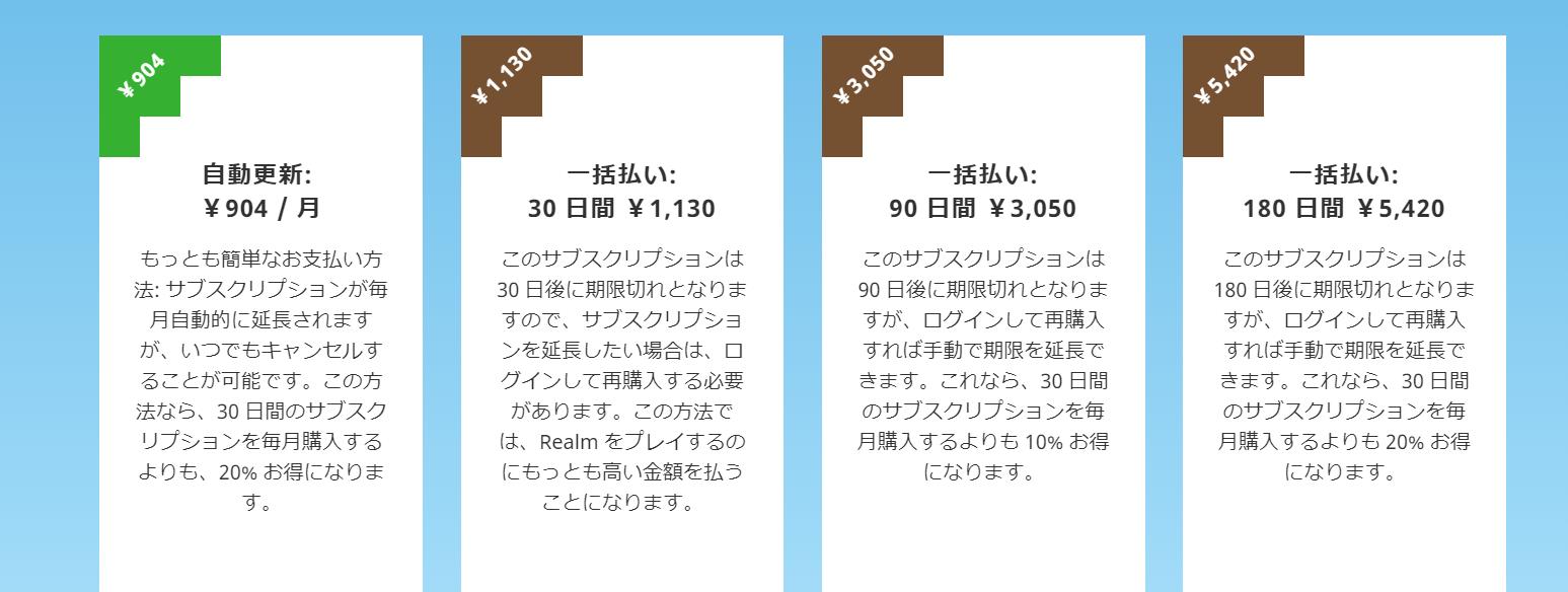 レルムズの料金 値段 価格