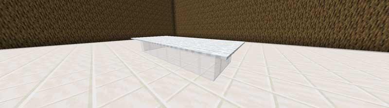 板ガラスのテーブル